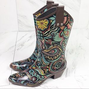 RainBops |Beehive | Rubber Boots Heels Multi Color